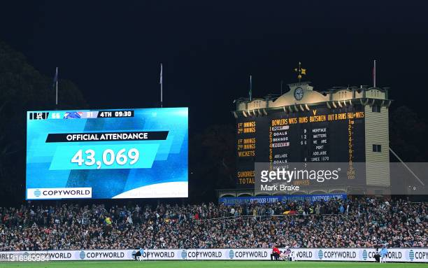 Crowd attendance during the round eight AFL match between the Port Adelaide Power and the Adelaide Crows at Adelaide Oval on May 08, 2021 in...