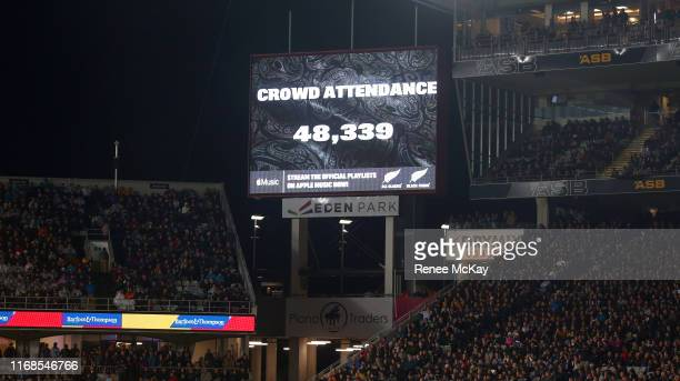 Crowd attendance during The Rugby Championship and Bledisloe Cup Test match between the New Zealand All Blacks and the Australian Wallabies at Eden...