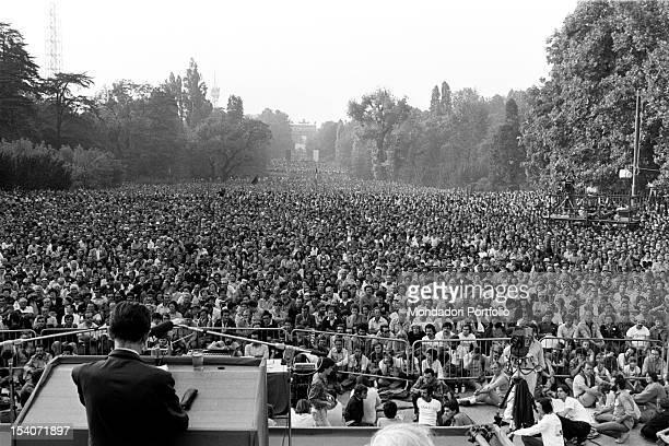 Crowd attending Festa dell'Unita in Parco Sempione Milan September 1979