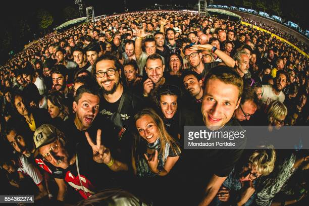 Crowd attends at the concert of British Rock band The Roling Stones at Lucca Summer Festival Lucca September 23 2017
