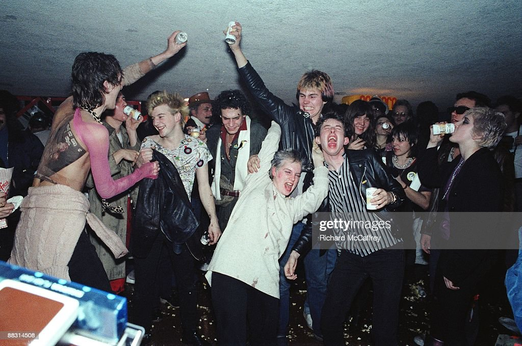 Crowd backstage for The Sex Pistols at The Winterland Ballroom in 1978 in San Francisco, California.