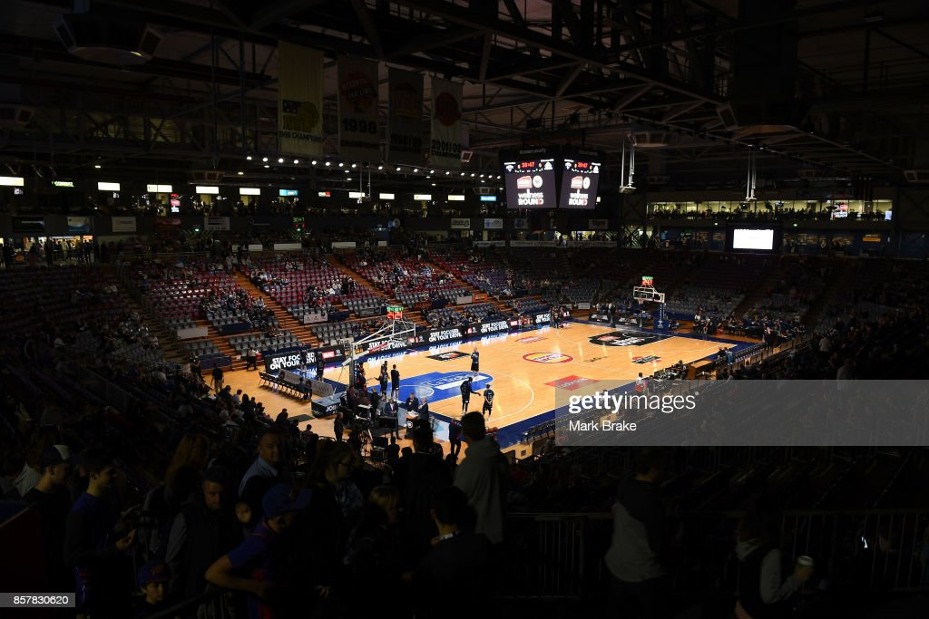 Crowd builds before round one NBL match between the Adelaide 36ers and Melbourne UInited at Titanium Security Arena on October 5, 2017 in Adelaide, Australia.