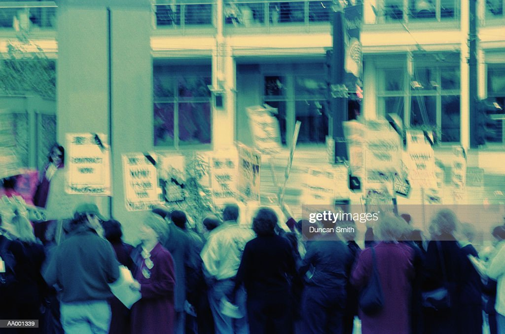 Crowd Carrying Protest Signs : Stock Photo