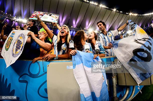 Crowd celebrates inside the stadium minutes before the match of the 2014 World Cup between Argentina and BosniaHerzegovina this Sunday June 15th in...