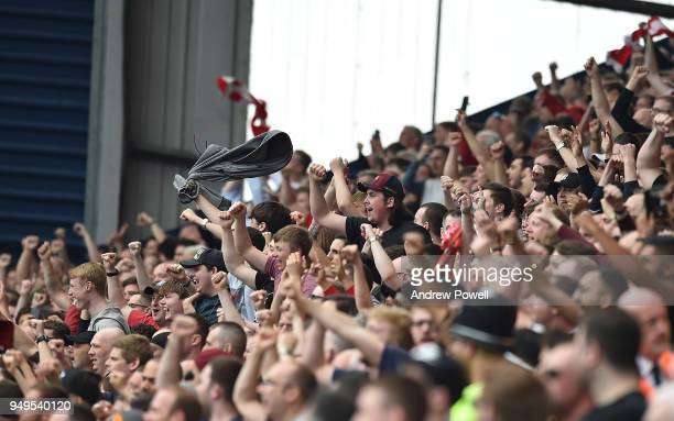 Crowd Celebrates the second goal of Liverpool during the Premier League match between West Bromwich Albion and Liverpool at The Hawthorns on April 21...