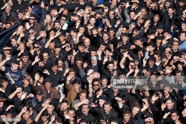 crowd celebrating ashura in ardebil,iran - muharram stock pictures, royalty-free photos & images