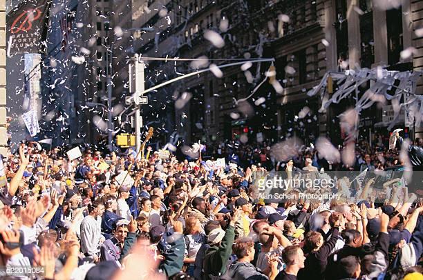 Crowd Celebrating at Ticker-tape Parade