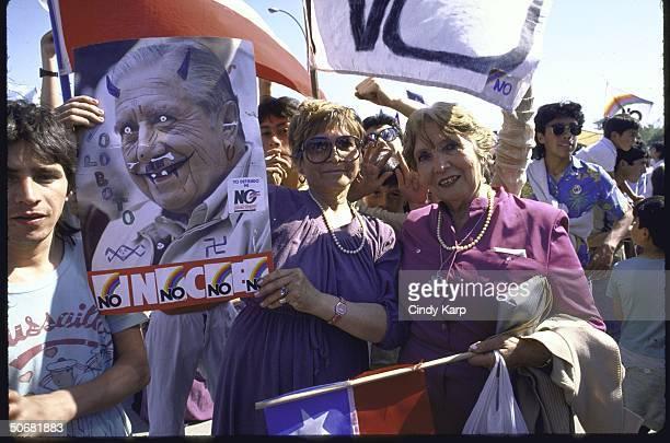 Crowd celebrating NO vote against dictator Augusto Pinoshet during plebiscite vote