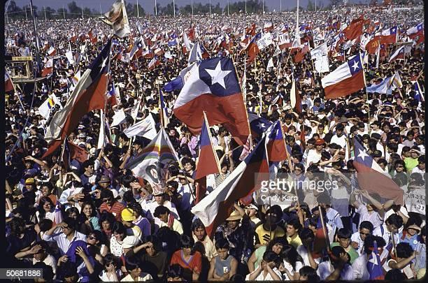 Crowd celebrating NO vote against dictator Augusto Pinoshet during plebiscite vote.