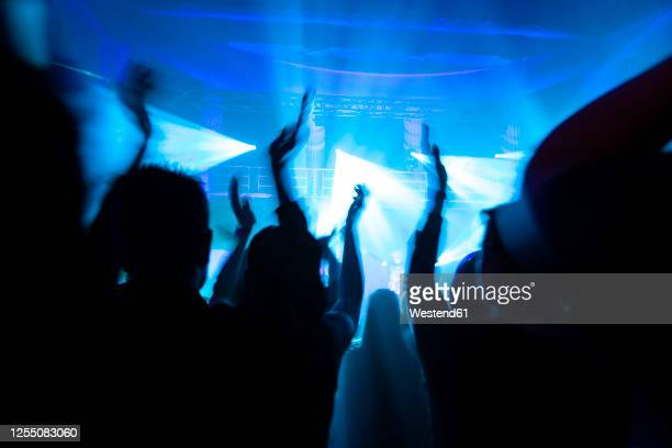crowd cheering during electronic music festival - electronic music stock pictures, royalty-free photos & images