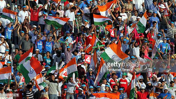 Crowd cheering during the 2011 ICC World Cup semifinal match between India and Pakistan at PCA Stadium in Mohali India on March 30 2011
