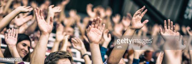 crowd cheering for their team with arms raised - fan enthusiast stock pictures, royalty-free photos & images