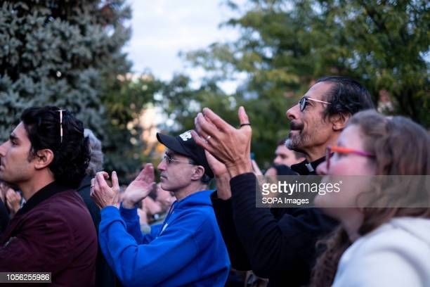 Crowd cheers during the protest against Trump visit In the aftermath of the Tree of Life shooting in Pittsburgh PA and the arrival of Donald Trump...