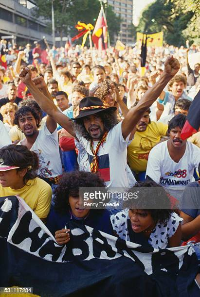Crowd demonstrates for Aboriginal rights at the Australian bicentennial celebrations. Sydney, New South Wales, Australia. January 26, 1988.