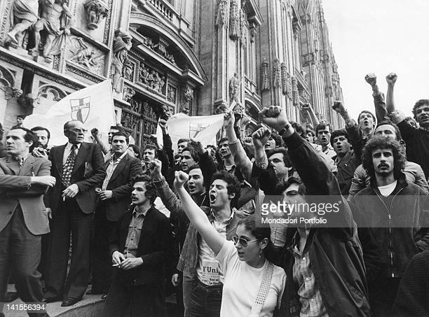 Crowd demonstrating on the parvis of Milan Cathedral after the assassination of Aldo Moro Milan May 1978