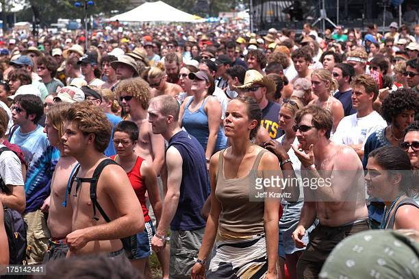 Crowd during 2003 Bonnaroo Music Festival Day One at Bonnaroo Fairgrounds in Manchester Tennesse United States