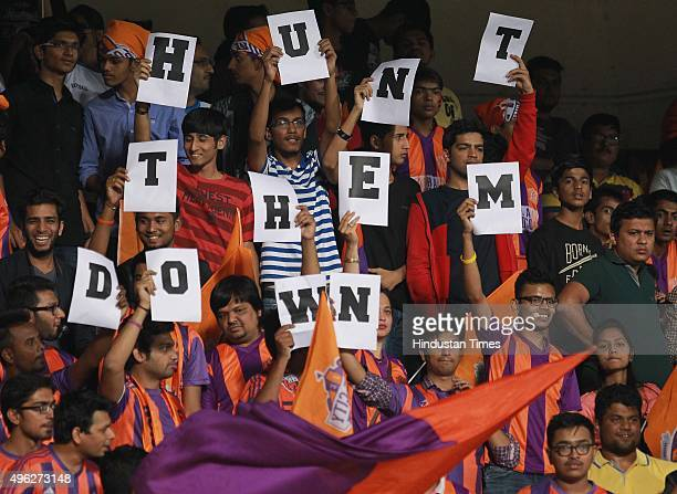 Crowd during a match between FC Goa and FC Pune City at Hero Indian Super League match at Shiv Chhatrapati Sports Complex on November 8 2015 in Pune...