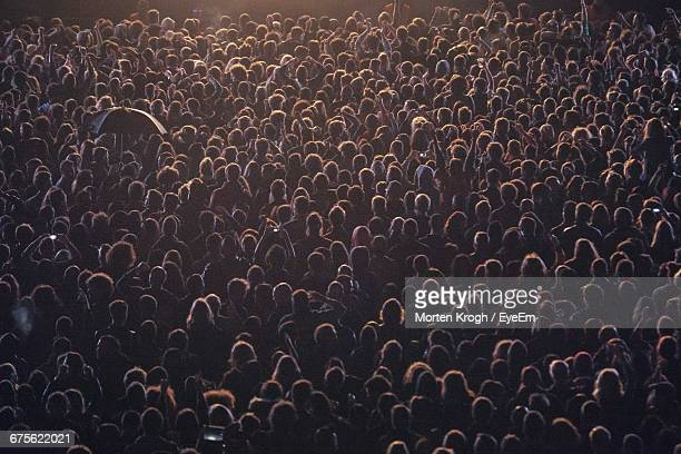 crowd enjoying in concert - crowd stock pictures, royalty-free photos & images