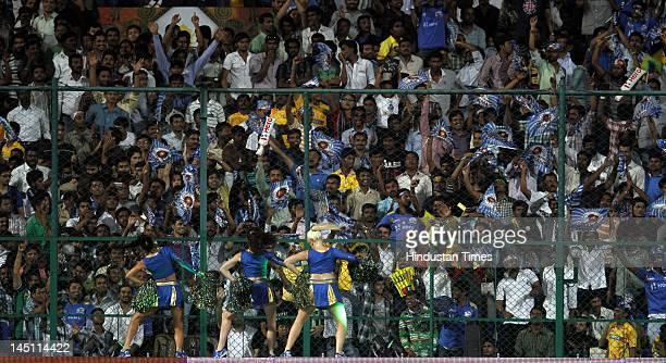 Crowd enjoying the first eliminator match of IPL 5 played btween Mumbai Indians and Chennai Super Kings at M Chinnaswamy Stadium on May 23 2012 in...
