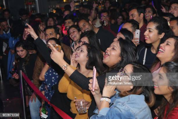 Crowd enjoying the performance of Delhibased singer Akhil Sachdeva during the night of the day of love February 14 Valentine's Day at FLYP@MTV on...