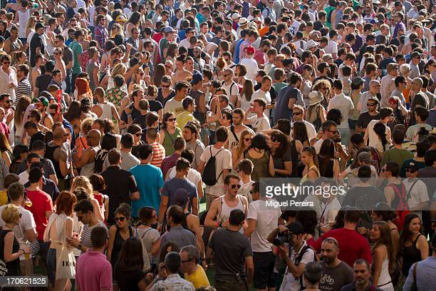 Crowd enjoying the Sonar music festival on June 14 2013 in Barcelona Spain
