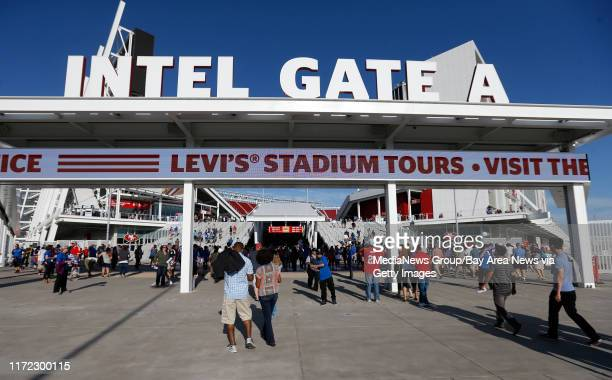 A crowd enters Gate A before the San Jose Earthquakes game against the Seattle Sounders FC at the new Levi's Stadium in Santa Clara Calif on Saturday...