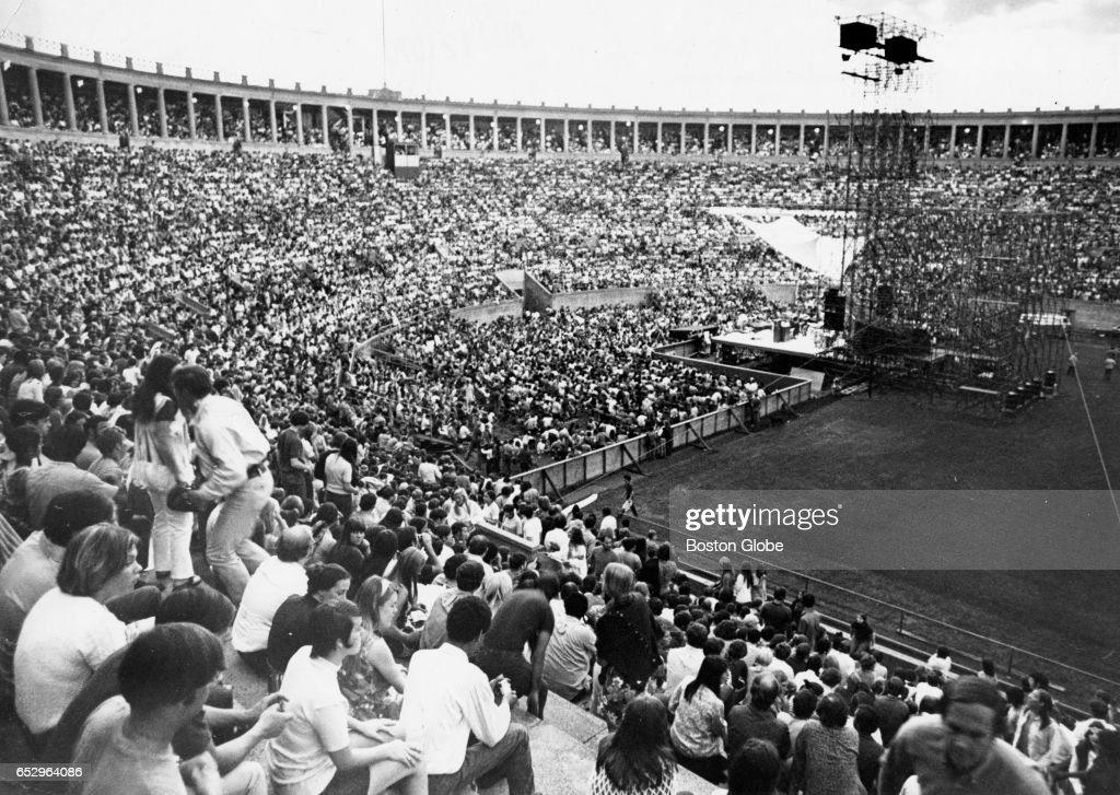 A crowd fills Harvard Stadium in Boston for a concert performance by Janis Joplin on Aug. 12, 1970.