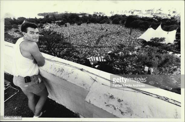 Crowd focks to the Domain for Symphony in the ParkMalcolm McGowa sought vantage point on top of building January 30 1988