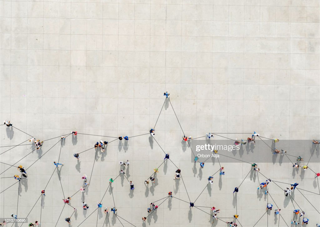 Crowd from above forming a growth graph : Stock Photo