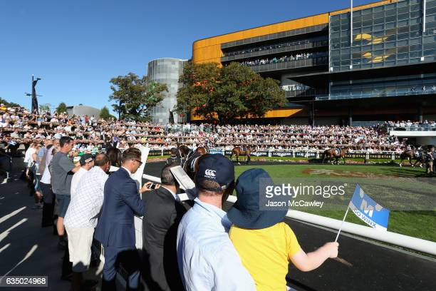 Crowd gather at the Theatre of the Horse prior to the Apollo Stakes at Royal Randwick Racecourse on February 13 2017 in Sydney Australia