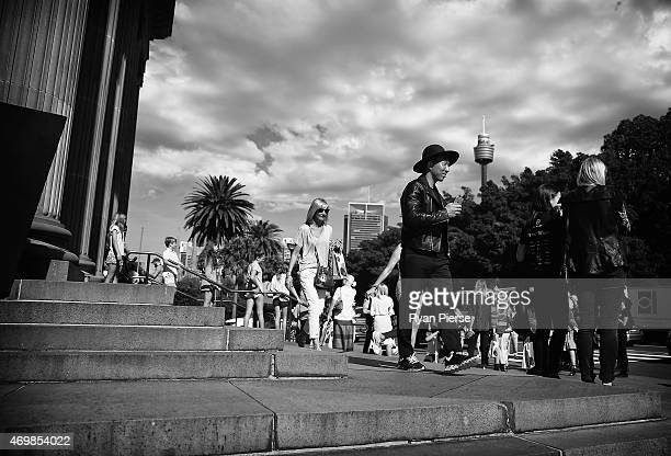 Crowd gather outside after the Romance was Born show during MercedesBenz Fashion Week Australia 2015 at Art Gallery of New South Wales on April 16...