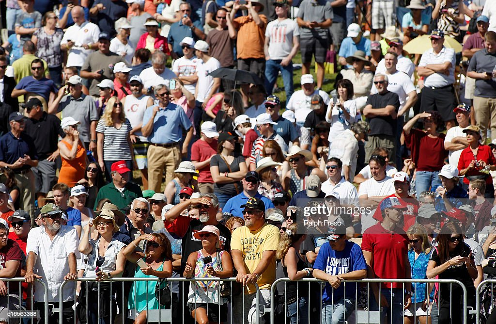 A crowd gathered at Fountain Park wait for the arrival of Republican presidential candidate Donald Trump during a campaign rally on March 19, 2016 in Fountain Hills, Arizona. Trump visits Arizona for the second time in three months as he looks to gain the GOP nomination for President.