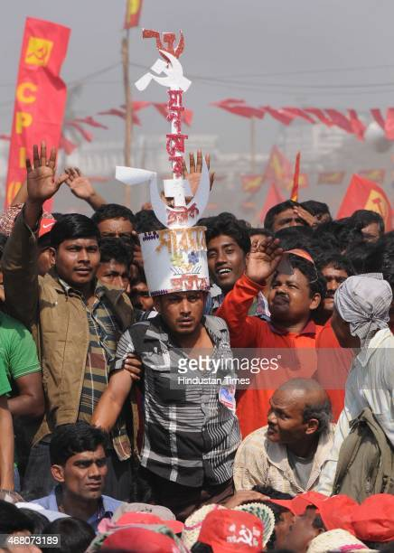 Crowd gathered during the Left Front public rally to counter Trinamool Congress at Brigade Parade Ground on February 9 2014 in kolkata India CPIM...