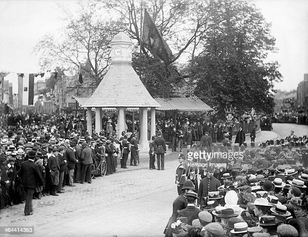 A crowd gathered for the opening of the Magdalen College clock tower Magdalen College Oxford Oxfordshire c1860c1922