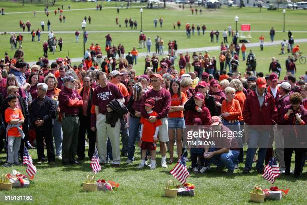 A crowd gathers 20 April 2007 to observe a moment of silence at Virginia Tech University to remember the victims of the 16 April massacre at the...