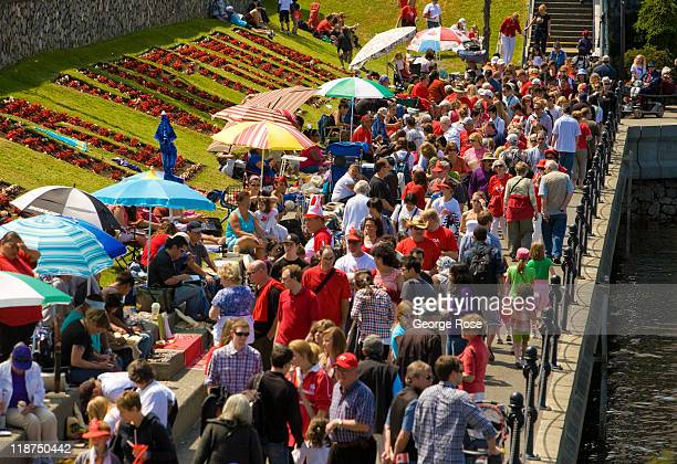 A crowd gathers along the inner harbour in anticipation of Canada Day festivities on July 1 2011 in Victoria British Columbia Canada The Canadian...