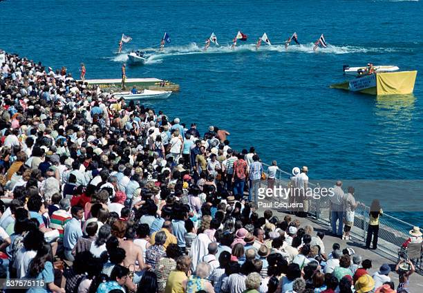 A crowd gathers at the lakeshore to watch Tommy Bartlett's water show Chicago Illinois 1980s
