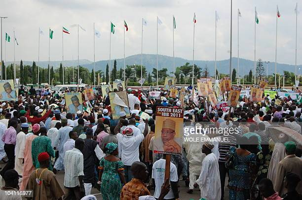 A crowd gathers at the rally for the declaration of General Ibrahim Babangida on September 15 2010 on Eagle square Abuja Former Senat President...