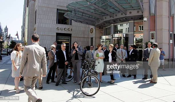 A crowd gathers at the unveiling for the ABSOLUT Boston Flavor at Boylston Plaza Prudential Center on August 26 2009 in Boston Massachusetts