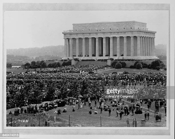 A crowd gathers for the dedication ceremony of the Lincoln Memorial on May 30 1922 to the 16th President of the United States Abraham Lincoln