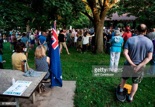 A crowd gathers in memoriam of Justine Damond at Beard's Plaisance Park on July 20 2017 in Minneapolis Minnesota Several days of demonstrations have...