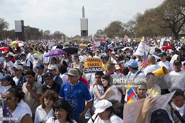 A crowd gathers near the US Capital Building during a rally for immigration reform March 21 2010 in Washington DC An estimated crowd of 500000 people...