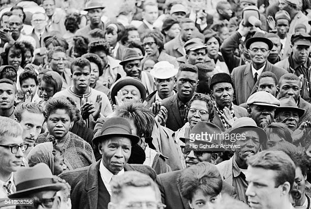 A crowd gathers outside Brown Chapel to listen to Martin Luther King Jr speak inside during the civil rights marches from Selma to Montgomery
