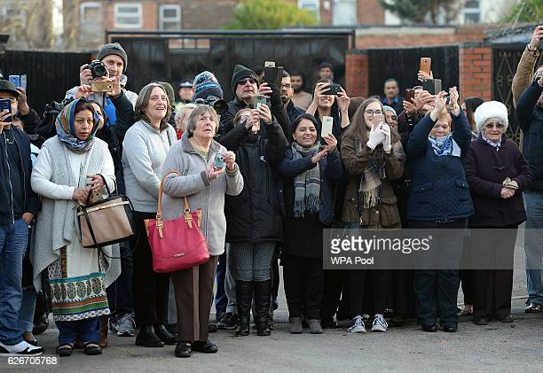 A crowd gathers outside Padley Development Centre as Prince William Duke of Cambridge makes a visit to Padley Development Centre on November 30 2016...