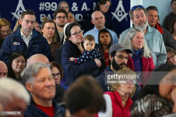 A crowd gathers to hear South Bend IN mayor Pete Buttigieg speak at the Tucker Lodge in Raymond NH on Feb 16 2019 Buttigieg recently launched a...
