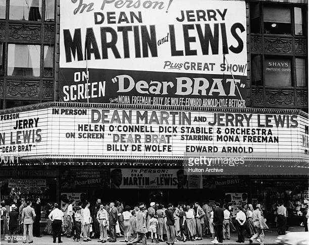 A crowd gathers to see Dean Martin and Jerry Lewis in person and on a double bill with the movie 'Dear Brat' starring Mona Freeman Billy De Wolfe and...