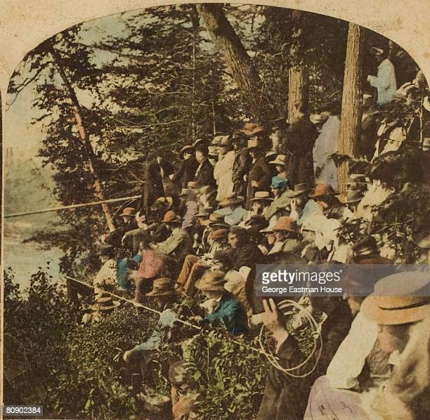 Crowd gathers to watch Charles Blondin attempt to cross Niagara Falls by tightrope, 06/30/1859