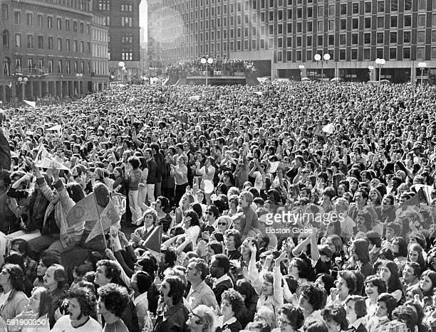A crowd gathers to welcome the Boston Red Sox at City Hall Plaza in Boston on Oct 23 1975 The Red Sox were defeated in the World Series by the...