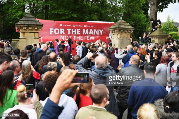 Crowd gathers waiting for the leader of the Labour Party Jeremy Corbyn to attend a campaign rally in Beaumont Park after launching the Labour Party...
