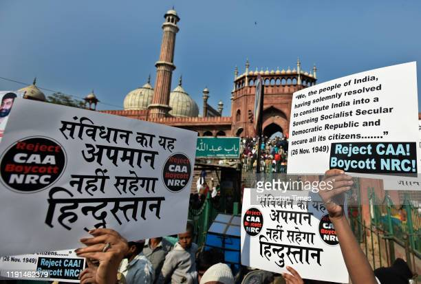 A crowd gathers with placards and posters during a protest against Citizenship Amendment Act at Jama Masjid on January 3 2020 in New Delhi India The...